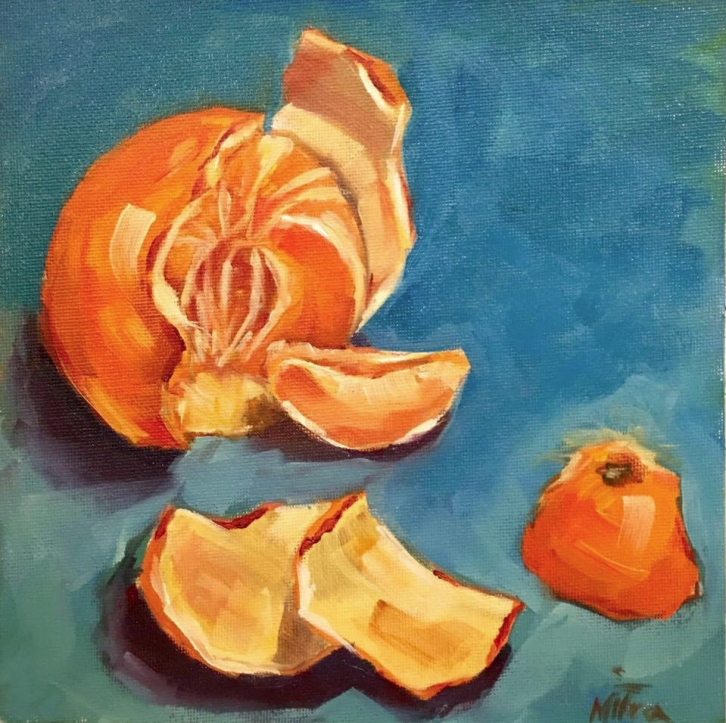 "Perfectly Orange, 8x8"", oil on Canvas Panel, $55(FREE SHIPPING & HANDLING WITHIN THE U.S.)"