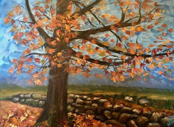 "Autumn Orange, 24x18x1.5"", Oil on Canvas, $550 (FREE SHIPPING & HANDLING WITHIN THE U.S.)"