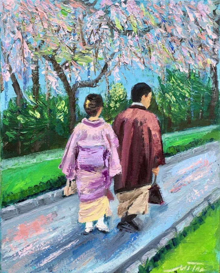 "Cherry blossom, 14x11x.75"", Oil on Canvas"