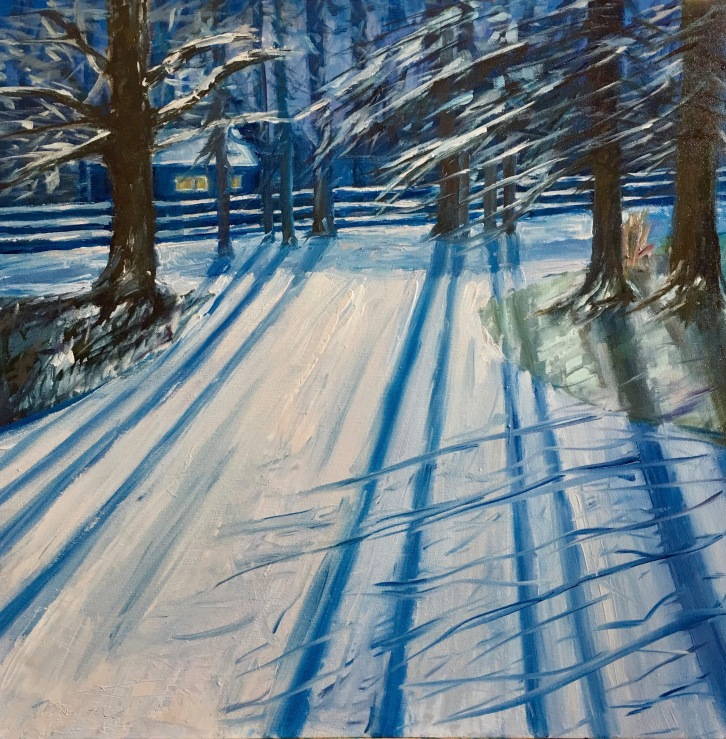"""Cold Blue,24x24x1.5"""", Oil on Canvas, $850 (FREE SHIPPING & HANDLING WITHIN THE U.S.)"""