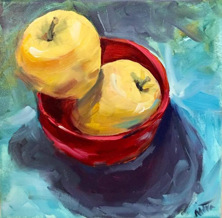 "Dancing Apples,10x10"", Oil on Canvas, $55 (FREE SHIPPING & HANDLING WITHIN THE U.S.)"