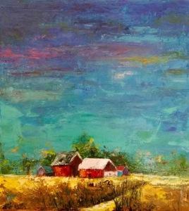 """Farm House, 18x20x.75"""", Oil on Canvas"""
