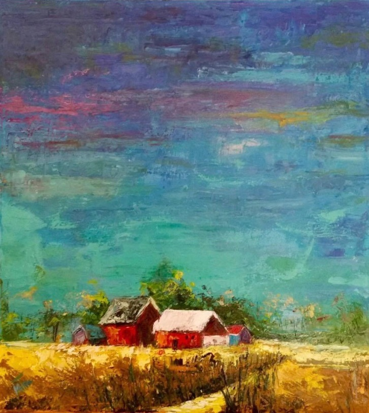 "Farmhouse, 18x20x.75"", Oil on Canvas, $650 (Framed) (FREE SHIPPING & HANDLING WITHIN THE U.S.)"
