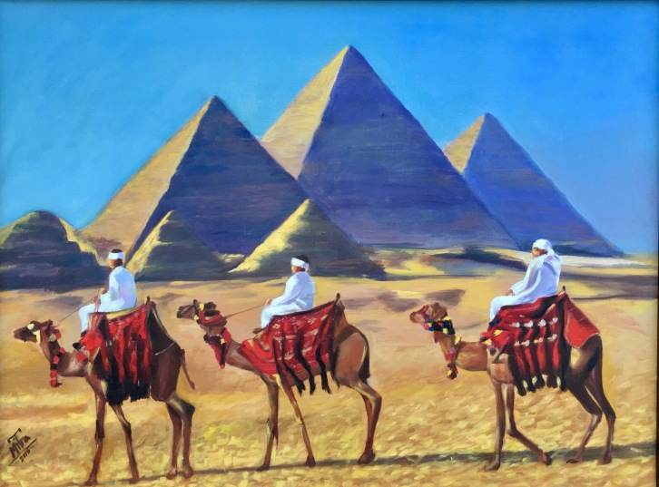 "Pyramids of Giza,24x31x.75"", Oil on Canvas, $1100 (Framed) (FREE SHIPPING & HANDLING WITHIN THE U.S.)"