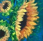 "Golden Sunflowers, 8x8"", Oil on Canvas Panel, $150"