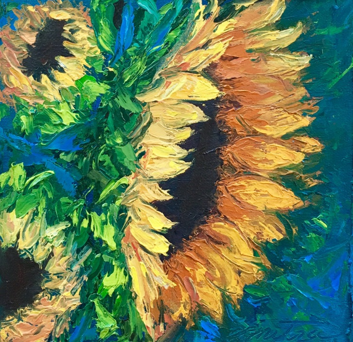 "Golden Sunflowers, 8x8"", Oil on Canvas Panel"