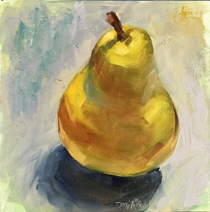 "Lonely Pear, 8x8"", Oil on Canvas Panel, $55 (FREE SHIPPING & HANDLING WITHIN THE U.S.)"