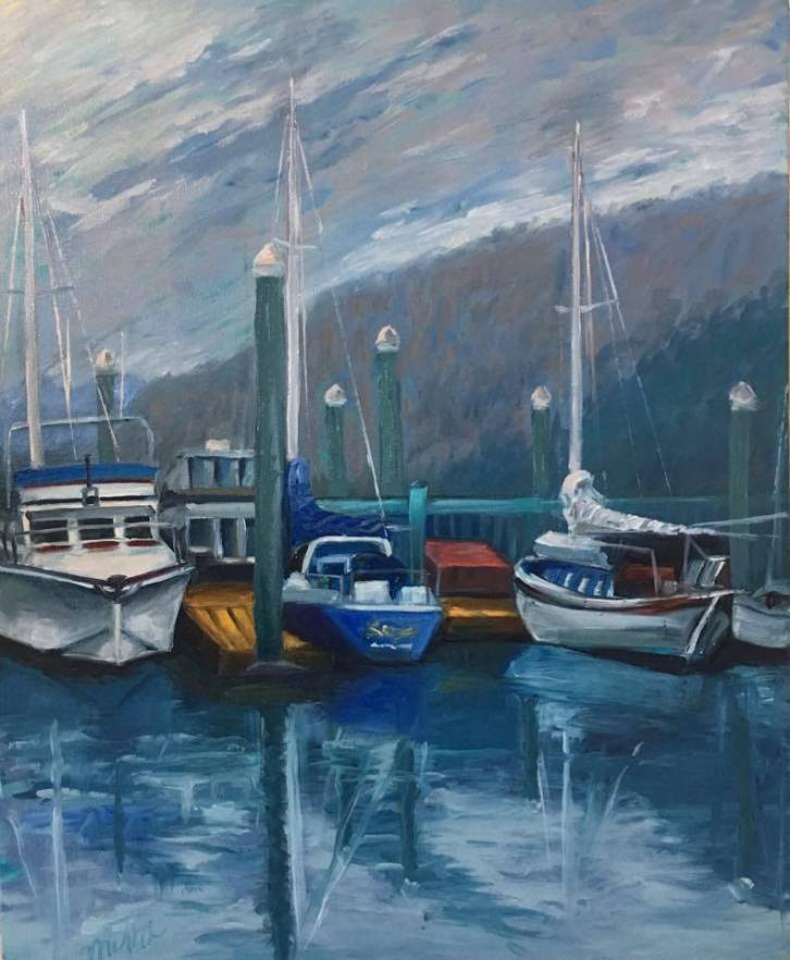 """Marina, 22x18x1.5"""" Oil on Canvas, $650(FREE SHIPPING & HANDLING WITHIN THE U.S.)"""