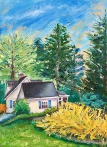 "Next Door Little Cottage, 24x18x1.5"", Oil on Canvas, $550"