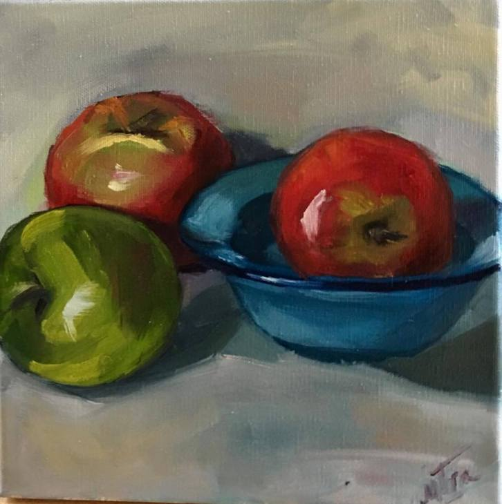 "Sleepy Apples,10x10"", Oil on Canvas, $55 (FREE SHIPPING & HANDLING WITHIN THE U.S.)"