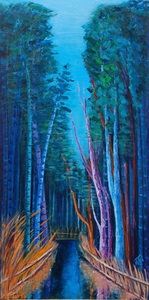 "Surreality in Arashiyama, 36x16x1.5"" Oil on Canvas, $850 (FREE SHIPPING & HANDLING WITHIN THE U.S.)"
