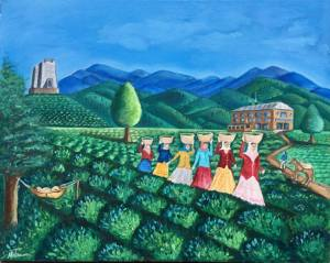 """Tea Garden, 30x24x1.5"""", Oil on Canvas, $950 (FREE SHIPPING & HANDLING WITHIN THE U.S.)"""