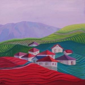"""Tea Plantation 24x24x1.5"""", Oil on Canvas, $750"""
