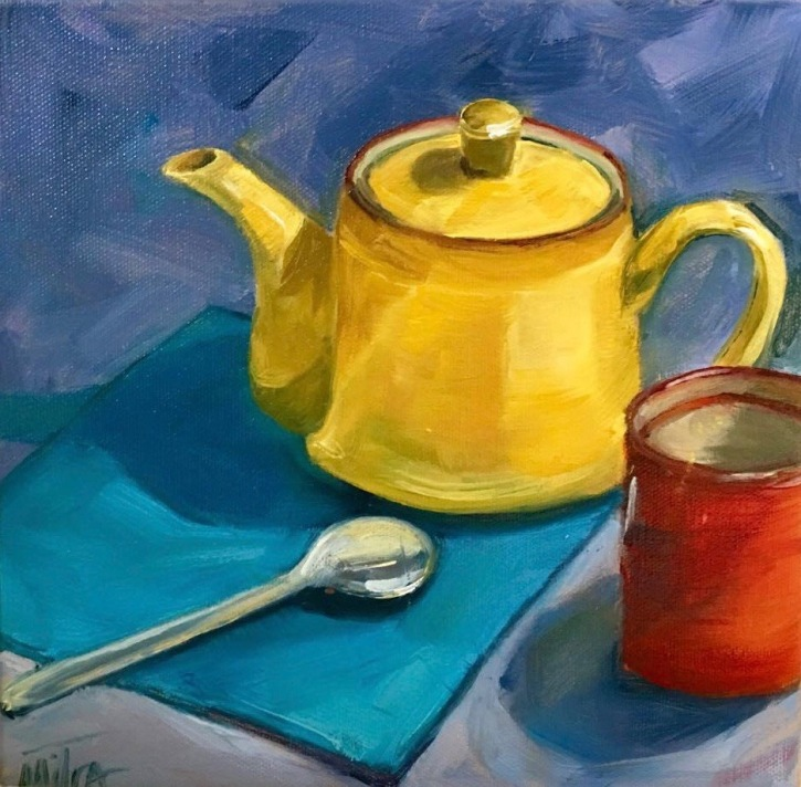 "Tea Time,10x10"", Oil on Canvas, $55 (FREE SHIPPING & HANDLING WITHIN THE U.S.)"