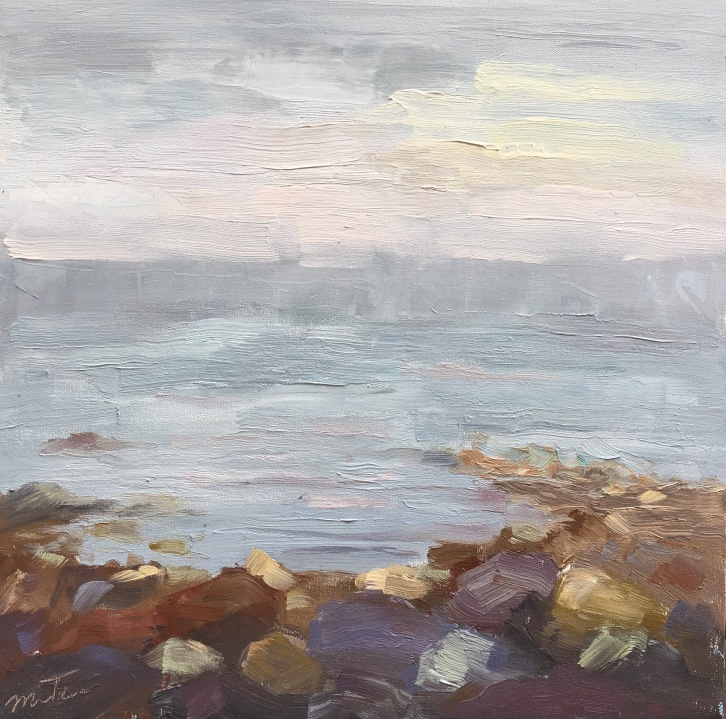 Rocky Shore in Fog, Maine, 16x16, Oil on Canvas, $650 (FREE SHIPPING & HANDLING WITHIN THE U.S.)