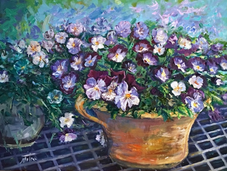 Pansies, 18x24 inches, Oil on Linen Panel