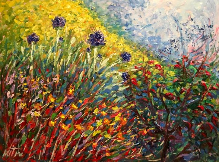 Sunny Garden, 18x24 inches, Oil on Linen Panel